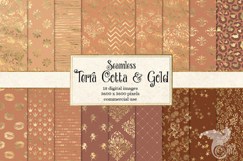 Terra Cotta and Gold Digital paper, seamless rust and gold foil backgrounds