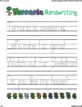 Terraria Manuscript Worksheet