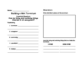 Terrarium Project Worksheet