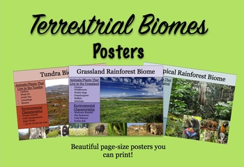 Terrestrial Biomes Posters for Class/Lab
