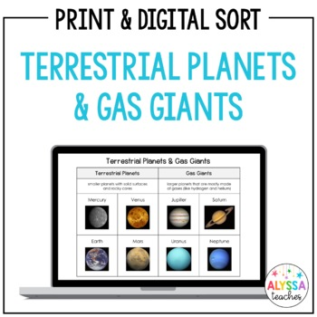 Terrestrial Planets & Gas Giants Sorting Cards (SOL 4.7)