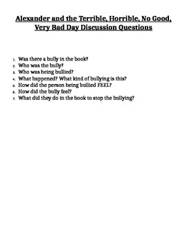 Terrible, Horrible, No Good, Very Bad Day Bullying Guidance Lesson Plan