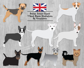 Dog Clip Art - Terrier Set, 9 Hand Drawn Dogs, Cute Pet Clipart Illustrations