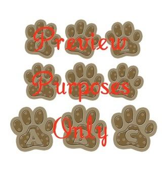 Terriers in the School Brown Pawprint Alphabet Clip Art Set