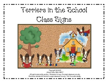 Terriers in the School Dog Themed Class Signs