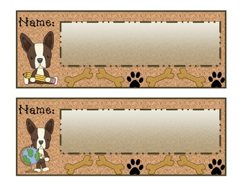 Terriers in the School Dog Themed Name Plates