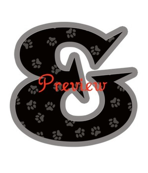 Terriers in the School Black Pawprint Alphabet Clip Art Set