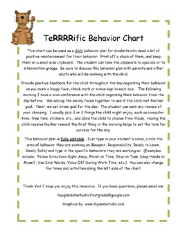 Terrific Daily Behavior Plan - Editable