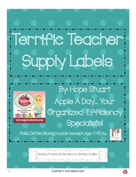 Terrific Teacher (Classroom) Supply Labels by Apple A Day!