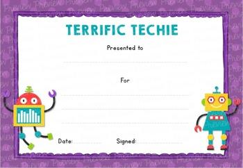 Terrific Techie! Certificate