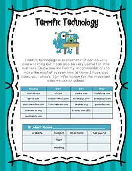 Terrific Technology Parent Information Handout