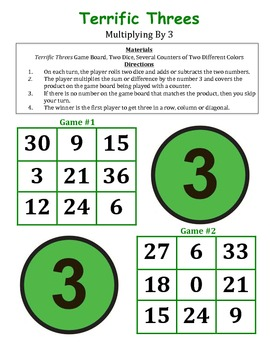 Terrific Threes - A 2-Player Game to Practice Multiplying