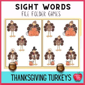 Dollar Deal! Sight Word File Folder Kit for Thanksgiving