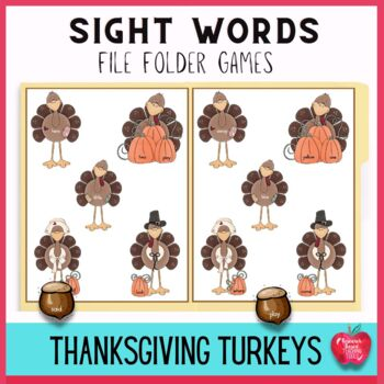Terrific Turkey High Frequency Dolch Word File Folder Kit!