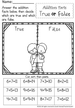 Addition Facts Worksheets - Sums up to 20 (Terrific Twins Line)