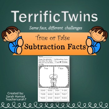 Subtraction Facts Worksheets (Terrific Twins Line)