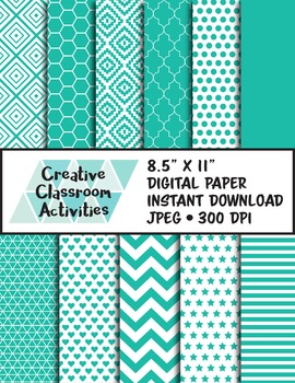 Terrifically Teal Digital Paper Instant Download