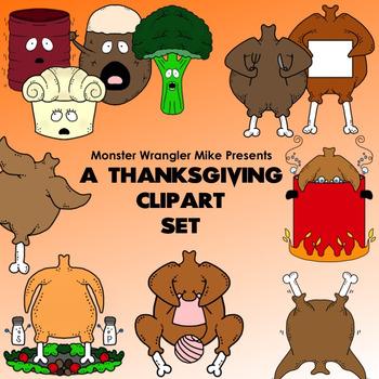 Terror at Thanksgiving Dinner: A Turkey and Friends Clip Art Set