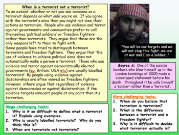 Terrorism - An introduction lesson