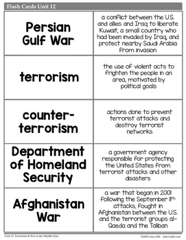 Terrorism & War in the Middle East Vocabulary Posters, Flash Cards, Word Wall