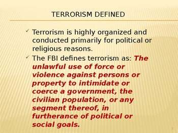 Terrorism that happened with the U.S.