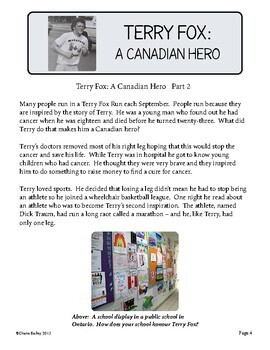 Terry Fox 2 Reading Passages, 9 activities: Grades 5 and 6