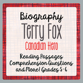 Terry Fox 2 Reading Passages, 9 activities: Grades 4-6 DISTANCE LEARNING