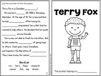 Terry Fox Activity Booklet