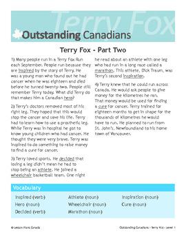 Terry Fox, An Outstanding Canadian (ESL 1)
