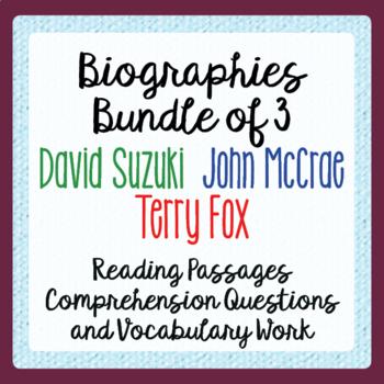 Terry Fox, John McCrae, David Suzuki Bundle - Texts, Activ