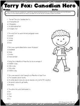 Shared Reading TERRY FOX Lesson Bundle Week 4 (Grade 5 Ont.Curriculum Aligned)