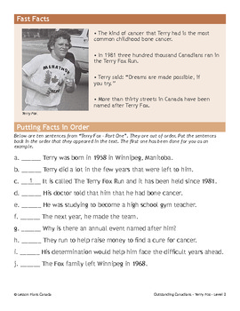 Terry Fox, An Outstanding Canadian (ESL 2)