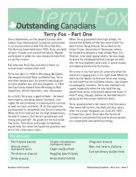 Terry Fox, An Outstanding Canadian (ESL 3)
