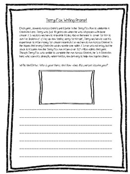Terry Fox Writing Prompt