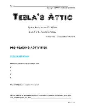 Tesla's Attic by Shusterman & Elfman, Novel Study Guide, Reading, STEM, LA
