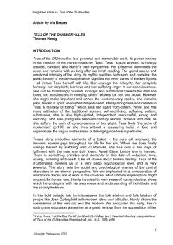 Tess of the D'Urbervilles Insight Text Article