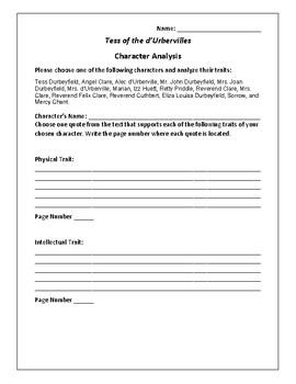 Tess of the d'Urbervilles Character Analysis Activity - Thomas Hardy