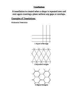 Tessellation NOTES and activity with grading rubric
