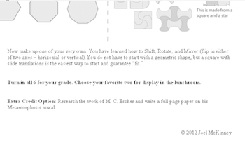 Tessellations and Translations (Art + Math Project)