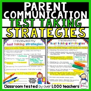 Test Taking Strategies Parent Communication Forms