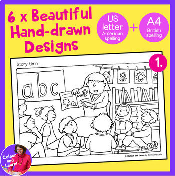 """""""School Scenes"""" 6x Hand-drawn Coloring Pages/Colouring Sheets Elementary/Primary"""