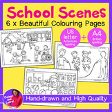 """""""School Scenes"""" 6x Hand-drawn Coloring Pages/Colouring She"""