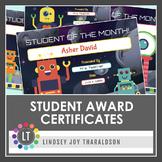 Robots!  Student Award Certificates {Editable} *New!