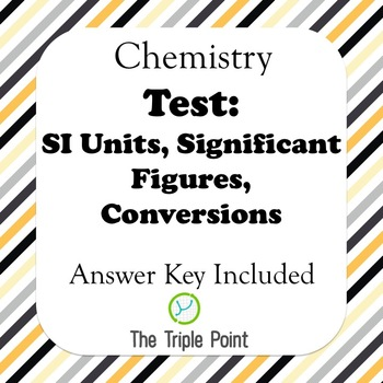 Chemistry Test: An Intro to Chemistry (SI Units, unit conversion, sigfigs, etc)
