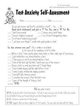 School Counselor-Test Anxiety Self-Assessment & Coping Skills Handout