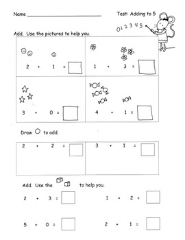 Test Assessment for Addition to 5 Kindergarten Common Core