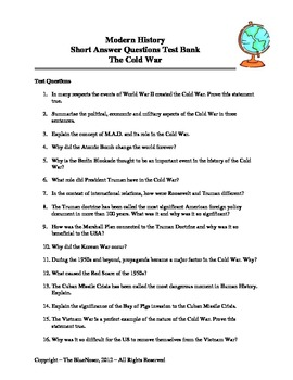 Test Bank - The Cold War (Short Answer Questions)