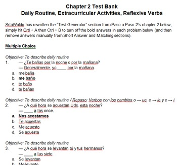 Test Banks for Paso a Paso 2 Chapters (Word docs)