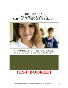 Test Booklet (Evaluations) for Richbaub's Introduction to Middle School Grammar