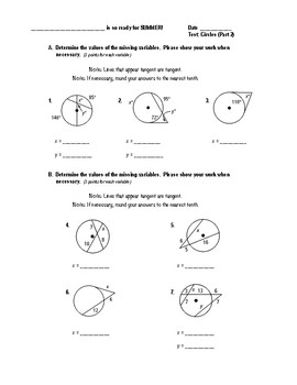 Geometry Test (2 Versions) - Circles (Angle Meas & Seg Length, Circles in Plane)